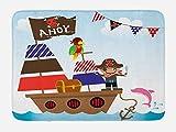 Vercxy Ahoy Its A Boy, Badewannen-Matte, für Kinder, Piraten-Schatztruhe, mehrfarbig, Ocean, Motiv, Badezimmer, mit rutschfester Unterseite, 59,9x 39,9cm