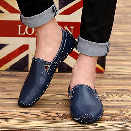 Anguang Hommes Flâneur Au volant Chaussures Décontractée Mocassins Confortable Chaussures Foncé Bleu