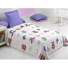 Reig Martí Lala - Juego de funda nórdica estampada, 3 piezas, para cama de 105 cm, color lila