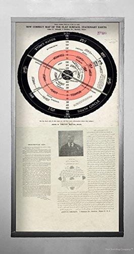 1920 Karte (New York Karte Company (TM) 1920Karte World New korrekte der die Flache Oberfläche, Stationäre Erde Zeigt der Autor 's Theory of|Historic Antik Vintage Reprint|Ready Zum Rahmen)