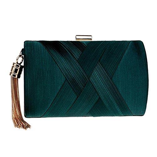 da donna raso nappa clutch handbag cristallo sera ballo di fine anno festa nozze borse. 17.5 x 11 x 7 cm . green . one size