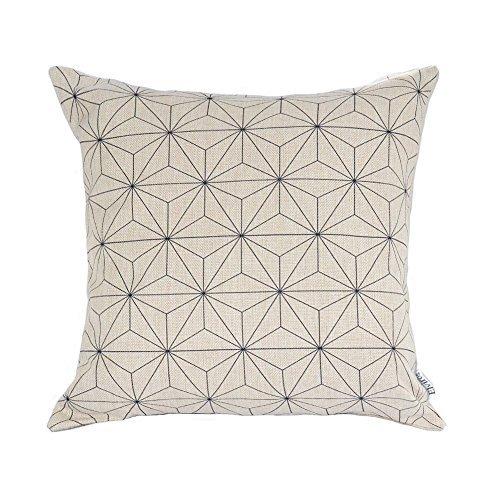 Elviros Dekorativ Baumwoll Leinen Mix Kissenbezug 45 x 45cm-Polygon C (Dekorative Nackenrolle Kissen)