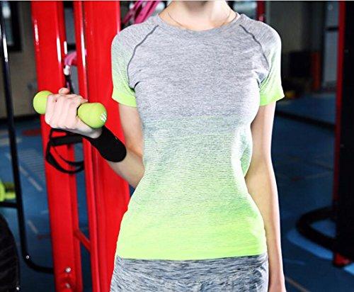 QIYUN.Z Les Femmes Dame Du Sport Yoga T-Shirt De Course En Plein Air A Manches Courtes A Sechage Rapide A Manches Courtes Vert