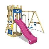 WICKEY Spielburg KnightFlyer Spielturm Kletterturm mit Schaukel, Sandkasten, Kletterleiter, Violette Rutsche + blaue plane