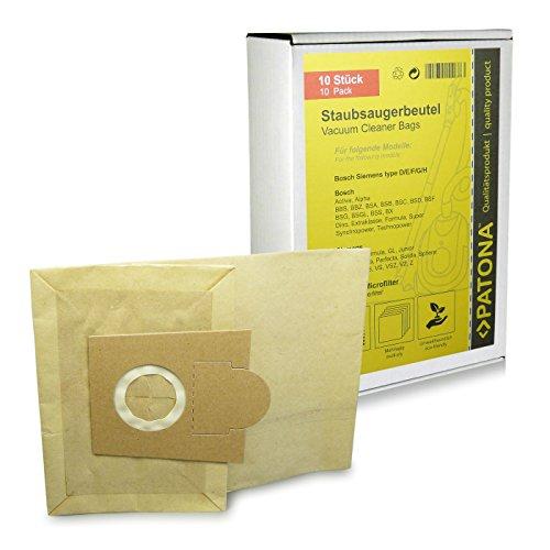 10x Sacchetti per aspirapolvere carta per Bosch Type D E F G - Animeaux BBS 1000...1199 Casa | 2000...2299 Alpha/N | 2400...2999 | 5000..5999 Optima | 6000..6309 Aktiva | 6310..6399 | 6400..7000