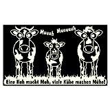 plot4u Wandtattoo 'Eine Kuh macht Muh, viele Kühe machen Mühe!' ab 30 cm in 7 Größen und 25 Farben (60x35cm creme)
