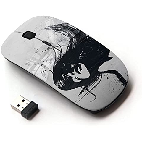 KawaiiMouse [ Mouse Senza Fili Ottico 2.4G ] cool sexy girl woman brunette hair black white art - Brunette Girl