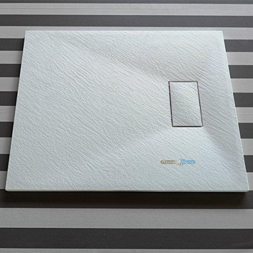 Piatto doccia effetto pietra ardesia stone smc (no marmoresina) BEIGE BIANCO NERO 70 80 90 100 120 140 160 cm piletta inclusa. Euclide (80x120 cm, Bianco)