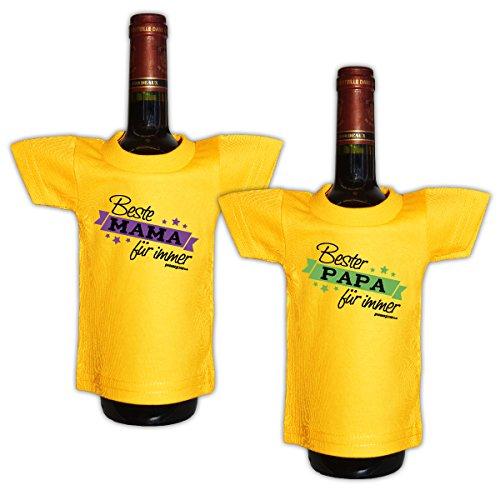 Lustiges Geschenk für Eltern Mini T-Shirt für Flaschen : / Beste Mama / Bester Papa -- 2 er Set Goodman Design® (Lächeln T-shirt Gelben)