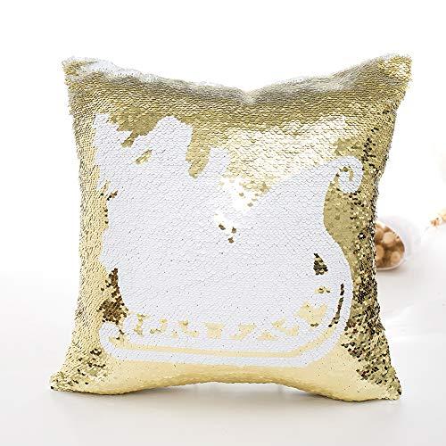 BEESCLOVER Kissenbezug Weihnachten Muster Double Side Glitter Pailletten Dekokissen Fall Cafe Home Dekor A500 Fall