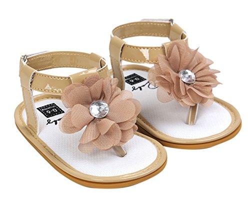 Happy Cherry Baby Mädchen Sandalen Sommer Kleinkind Schuhe PU Leder 11cm Innenlänge Krabbelschuhe Rutschfest Weiche Sohle Lauflernschuhe Babyschuhe mit Blumen (Farbe Größe wählbar) Khaki