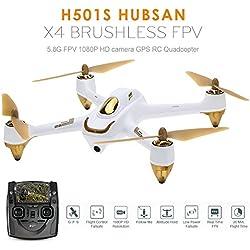 Koeoep H501S X4 Drone - Transmisor GPS de 4 canales (5,8 GHz, con cámara HD 1080P, cuadricóptero), blanco, 1
