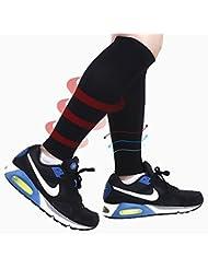 Das leben Compresión pantorrilla manga Calentadores de piernas de Compresiónn Negros - Compression Calf Sleeves - Black - For Sports Recovery, Work, Flight - Running, Cycling, Soccer, Rugby, Fitness, Gym, Golf, Tennis, Triathlon