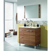 Mueble lavabo de baño o aseo con lavamanos de PMMA y un fantástico espejo a juego, dos puertas y dos cajones color nogal 80x80x45cm - mueblesdebanoprecios.eu - Comparador de precios