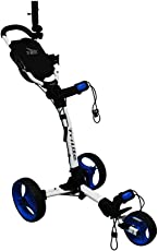 Axglo (Canada's No. 1) 3 Wheel Trilite Ultra Compact Foldable Aluminium Golf Trolley Cart (Free Carry Bag, Umbrella Holder & Beverage Holder)