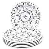 Kahla 160273A75019H Blau Saks XXL blauweiß Teller-Set Porzellan 6 teilig Speiseteller 6 Person Blumendekor flach Teller rund Essteller