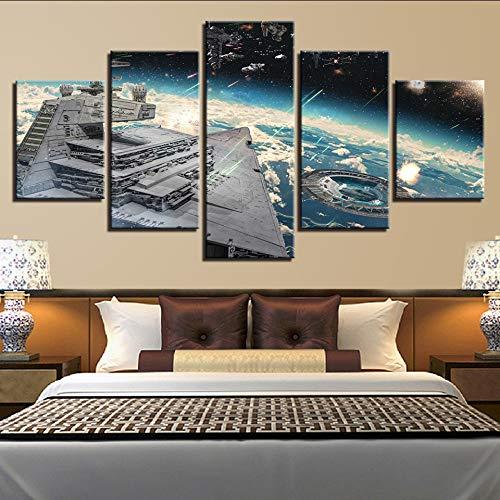 (Wiwhy Moderne Home Wandkunst Dekoration Bilder 5 Stücke Film Szene Raumschiff Hd Gedruckt Malerei Auf Leinwand Poster-30X40/60/80Cm,Without Frame)