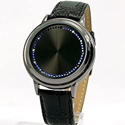 Men Fashion Blue LED Touch Screen Black Faux Leather Belt Watch