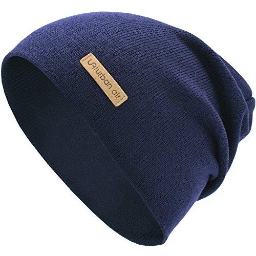 urban air | Street Classics | Slouch Beanie, Mütze, mit Lederpatch | Damen, Herren | für das ganze Jahr, weicher Stoff | in blau(navy)