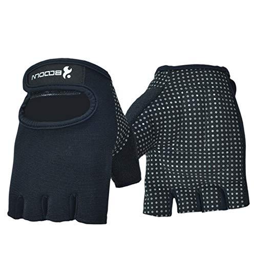 Gnzoe Fitness-Handschuhe Rutschfest für Herren Damen Sporthandschuhe Groß Schwarz