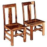 vidaXL 2 x Esszimmerstuhl Massives Sheesham-Holz Holzstuhl Küchenstuhl Stuhl