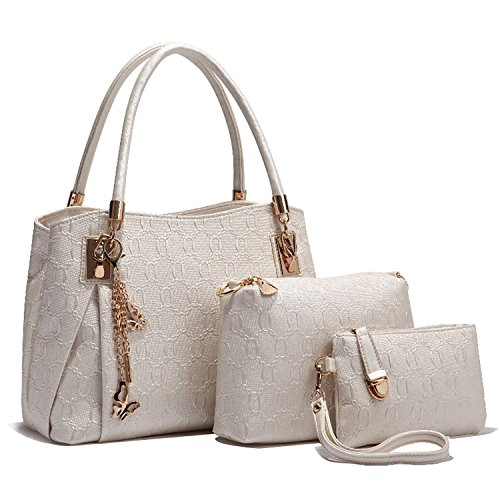 Minetom Damen Frauen Vintage Leder Handtaschen Schulter Beutel Tote Schultaschen Hobo Set Weiß (Umhängetasche Reißverschluss Top Double)