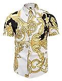Pizoff Herren Hemdkragen mit Kurz Ärmeln Fashion Hip-Hop Tops Hemden mit Floral Blumen Luxus Palace Muster AL003-45-S
