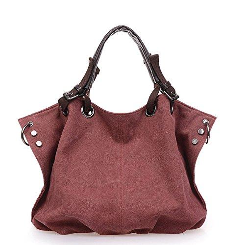UGOOO Damen Umhängetasche Tragetasche Canvas Shopper Damen Shopper Umhängetasche Handtasche Damen Schultertasche Beuteltasche Groß Handtaschen (Rotwein) (Longchamp Vintage)