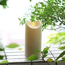 DFL Impermeabile Danza fiamma tremolante lume di candela con il temporizzatore, Battery Operated per Outdoor decorazione del giardino, color avorio (7 x 17,75 cm)