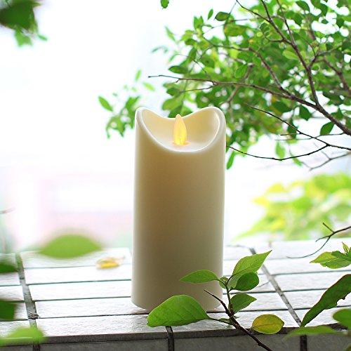 Outdoor-Kerze Wasserdichte Tanzen Flamme Flickering Kerze Licht mit Timer, Wasserdicht Bewertung ist IP44, batteriebetrieben, 5 Stunden Timer, für Outdoor Garten Dekoration, Elfenbein (7 x 17,75 cm)