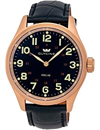 Glycine KMU 48 Kriegs Marine Uhren Rose Gold Plated Steel Mens Watch 3906.29AT LBK7D
