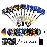 Colourstone Juego de Dardos(18g), Set de 12 Dardos con Punta de plástico para Bar Dianas Electrónicas de Profesionales