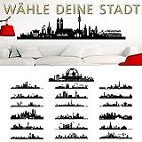 Wandaro Wandtattoo Skyline München I schwarz (BxH) 140 x 39 cm I Wohnzimmer Städte der Welt selbstklebend Aufkleber Wandsticker Wandaufkleber Sticker W3290