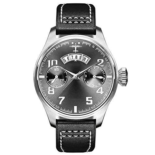 ETH Herren Freizeitmode Braun Glas + Edelstahl Quarzwerk Gürtel Sport wasserdichte Dornschließe Uhr Zubehör (Farbe : Black)