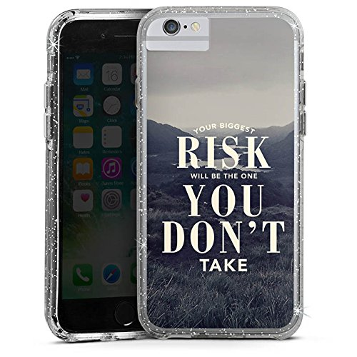 Apple iPhone 6 Bumper Hülle Bumper Case Glitzer Hülle Phrases Sprüche Sayings Bumper Case Glitzer silber