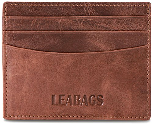 LEABAGS Milwaukee genuine buffalo leather card holder in vintage style - CrazyVinkat Milwaukee Wallet