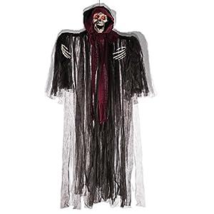 Carnival Toys - Esqueleto para colgar, sonoro, movible y con ojos luminosos, 170 cm, color negro (8524)