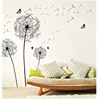 Wall Sticker, SUNNSEAN Black Dandelion Flowers Art Vinyl Wall Decals Stickers Home Decor for Living Room Bedroom TV Background Wall