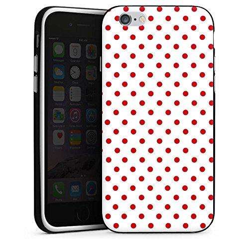 Apple iPhone 6s Hülle Case Handyhülle Muster Polka Punkte Weiß Rot Silikon Case schwarz / weiß