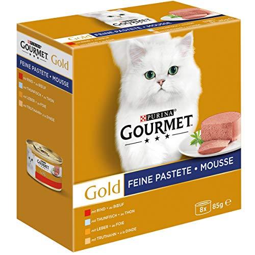 Purina GOURMET Gold Feine Pastete Katzennassfutter mit Rind, Thunfisch, Leber und Truthahn, 96er Pack (96 x 85 g)