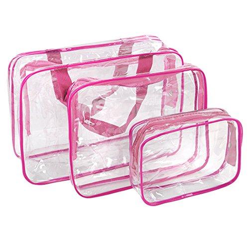 sourcingmap® 3 pièces PVC Voyage Sac cosmétique maquillage toilette ensemble pochette porte-sac vage