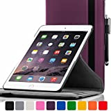 ForeFront Cases® New Apple iPad Air Rotating Leather Case Cover / Stand with Magnetic Auto Sleep Wake Function For New 2013 iPad Air + WiFi 16Gb, 32Gb, 64Gb, 128Gb - PURPLE