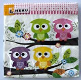 Heku® 20 Servietten 33x33cm Tissue 243-35 Design: Eulen