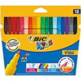 BIC Kids Visa Feutres de Coloriage à Pointe Fine - Couleurs Assorties, Etui Carton de 18