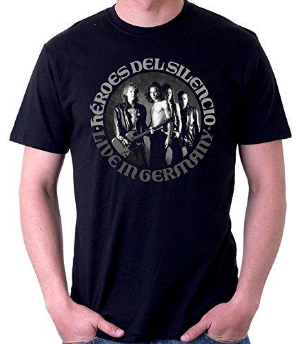 35mm - Camiseta Hombre - Heroes Del Silencio - Live In Germany - T-Shirt, NEGRA, L