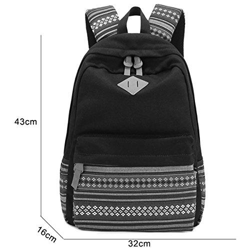 Panegy Damen Mädchen Mode Design Rucksack Ethnischen Stil Canvas Rucksäcke Schulrucksack für Schüler Freizeit Outdoor Sport Wanderrucksack - Schwarz Violett