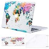 MOSISO Modello in plastica Dura Cassa e della Tastiera e Screen Protector Compatibile Solo [Generazione precedente] MacBook PRO (No USB-C) Retina 38,1cm World Map