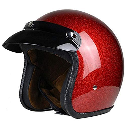 Retro Oldtimer Helm, ECE Zertifiziert Jet-Helm Chopper Retro Bobber Helm Halbschale Helm Pilot Cruiser Vintage Helmet waschbare Polster Motorradhelm Jethelm für Damen und Herren