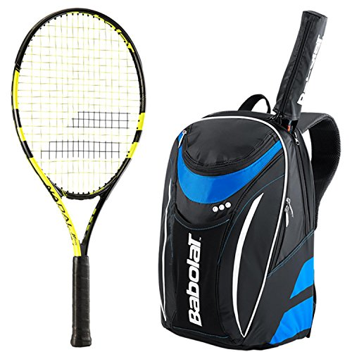 Babolat Nadal Junior Schläger, Bundle mit einer Club Tennis Rucksack, Black/Blue Club Backpack -
