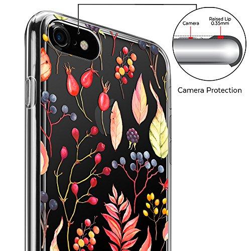 iPhone 7 Hülle (4,7 Zoll), GMYLE Muster Series Weiche TPU Rahmen + Hart PC Rückdeckel Hülle Muster Schutzhülle für iPhone 7 (Valentine Muster III) Red Leaf
